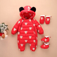 新生婴儿羽绒服连体衣男童宝宝女1-3岁0-1加厚冬季外出服抱衣套装