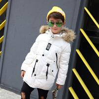 儿童羽绒服男童中长款中大童大毛领连帽加厚宝宝男孩童装外套反季 白色 尺码偏小拍大一码