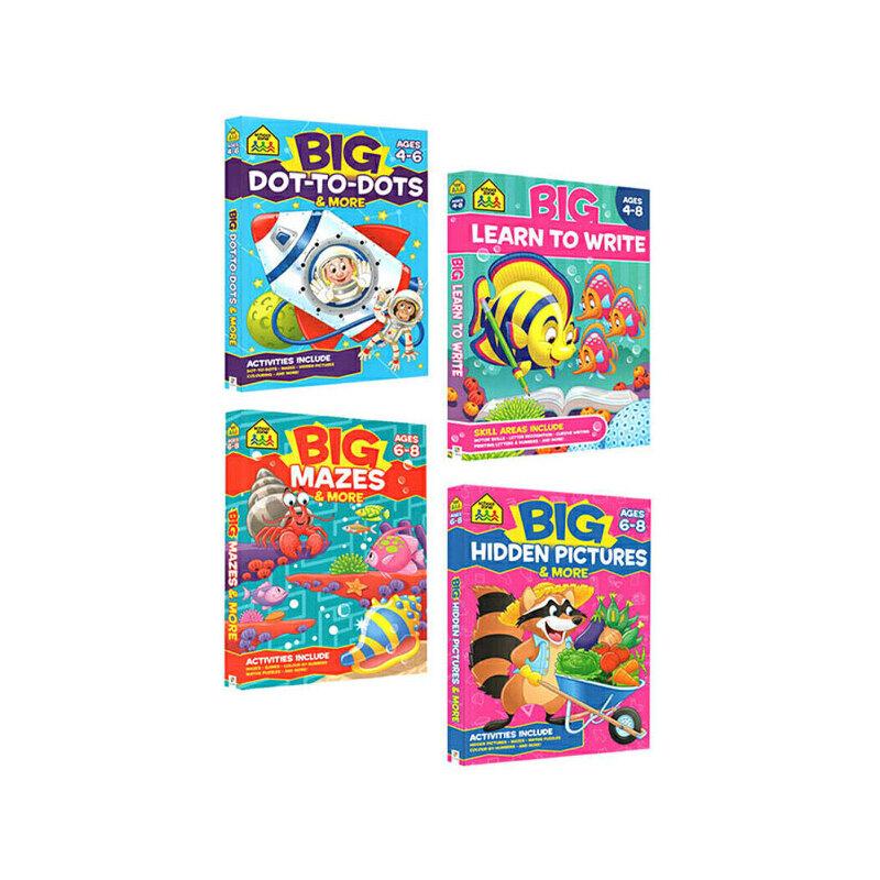【4-8岁描点练习4册】School Zone Big Activity Book Handwriting Dot-to-Dot Hidden Pictures儿童书写描点书写活动练习英文原版