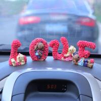 汽车饰品摆件 可爱LOVE玫瑰花垂耳兔 红色