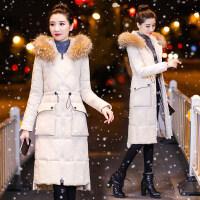 大毛领棉衣女中长款过膝冬季新款韩版加厚保暖修身外套棉袄