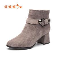 红蜻蜓女鞋2019冬季新款真皮低跟粗跟女短靴时尚磨砂女靴断码清仓
