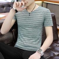 男士V领短袖T恤青年修身上衣潮流纯色男装小汗衫韩版夏季半袖体恤