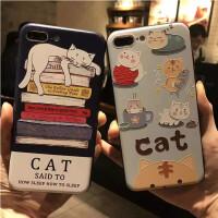 苹果7手机壳 6卡通壳 6 plus猫咪壳 iPhone 7保护壳 iPhone6S卡通猫保护壳 7 plus彩绘浮雕
