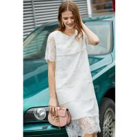 【到手价:149元】Amii极简仙女气质连衣裙2019夏季新款透视重工蕾丝拼接短袖蛋糕裙