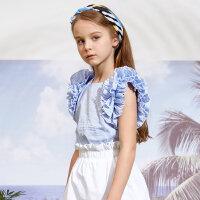 【1件2.5折到手价:53.8】米喜迪mecity童装19夏女童条纹大荷叶边袖子短袖衬衫