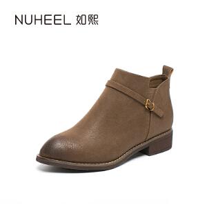 如熙 2017秋冬新款女靴 细致皮带扣装饰 时尚手工擦色女靴