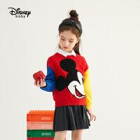 【今日4折�A估�r:78.7元】迪士尼男童女童撞色�t色毛衣新款童�b2020新款米奇�和�����拜年服