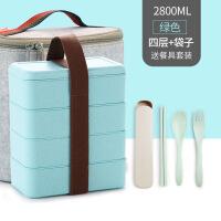 简约可爱日式便当盒学生微波炉饭盒3三层双层2分格4餐盒