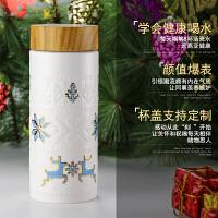 乾唐轩活瓷 喜鹿随身杯 双层350ml圣诞节礼物陶瓷杯带盖杯子