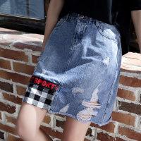 不规则毛边牛仔半身裙夏2018新款女韩版潮破洞时尚拼接短裙子 蓝色