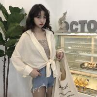 韩版时尚休闲套装春夏女装宽松防晒衫微衬衣上衣+吊带两件套 均码