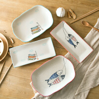 日式色釉手绘方形菜盘深盘餐盘家用餐具陶瓷装鱼盘子创意西餐碟子