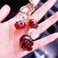 郁金香玫瑰花朵串串水晶创意女士汽车钥匙扣 钥匙链圈包包挂件
