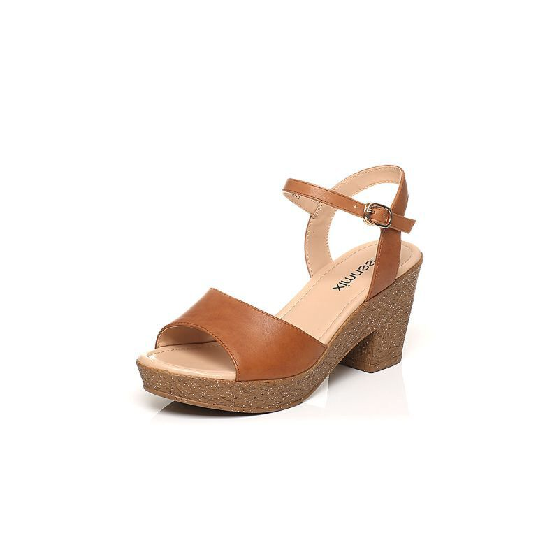 Teenmix/天美意夏专柜同款牛皮简约优雅粗高跟女凉鞋6YB05BL7