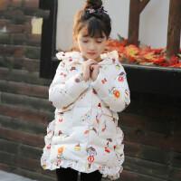 童装女童可爱萌系小清新棉衣中长款连帽卡通印花保暖