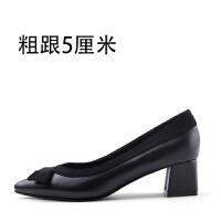 蝴蝶结拼色工作鞋女黑色中跟低跟尖头粗跟单鞋细跟职业高跟鞋