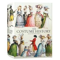 THE COSTUME HISTORY 英文版古典服装饰品图集 奥古斯特拉西服装设计手绘插画艺术书籍