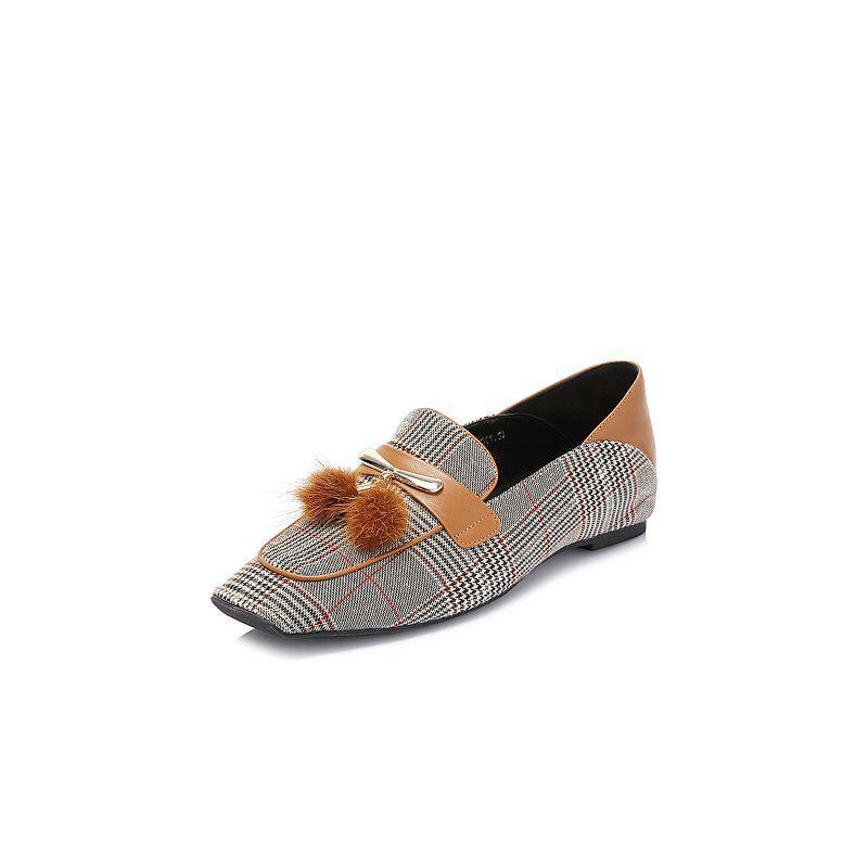 Belle/百丽2018春新品专柜同款格子布/牛皮女休闲鞋S5M1DAM8