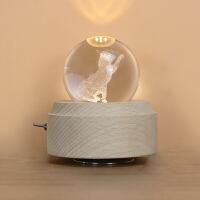 音乐盒木质猫咪八音盒水晶球创意生日圣诞礼物送女生闺蜜