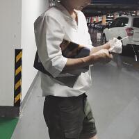 2018夏装新款丝滑舒适西装领衬衣五分袖男英式韩版休闲短袖衬衫潮
