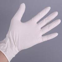 一次性手套实用型B级9寸丁晴乳胶耐酸性防油防水劳保维修耐磨 白色