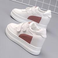 秋冬棉鞋女厚底魔术贴小白鞋女板鞋内增高8CM白鞋子街拍学生女鞋