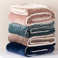更升级抽条灯芯绒羊羔绒毛毯双层加厚盖毯休闲毯沙发毯午休毯2KG