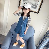 女童套装春装2018新款韩版儿童条纹长袖T恤仔背带裙洋气两件套3573 蓝色