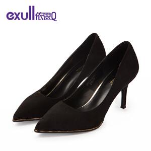 依思q新款浅口单鞋反绒纯色细高跟鞋