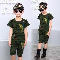 男童夏装新款套装儿童装夏季童装迷彩短袖小孩潮