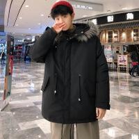 №【2019新款】冬天胖子穿的大毛领棉衣男加肥加大码中长款外套连帽厚宽松保暖潮