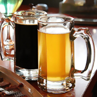 加厚啤酒杯玻璃大容量�О��性水杯把杯家用杯2只�bSN3591