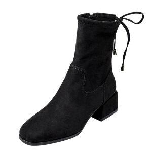 WARORWAR 2019新品YM164-1554-1秋冬韩版磨砂绒粗跟鞋方跟高跟鞋女鞋潮流时尚潮鞋百搭潮牌靴子短靴