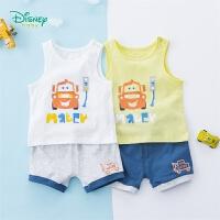 【119元4件】迪士尼Disney童装 男童汽车印花套装夏季新品儿童纯棉背心短裤2件套192T888