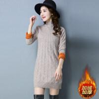 2018冬装新款半高领加绒加厚毛衣女中长款韩版修身防寒保暖打底衫