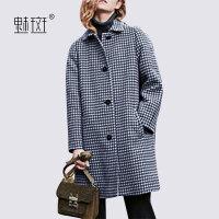 【新年狂欢到手价:388.8】魅斑时尚复古格子羊毛呢大衣2019冬季新款女装中长款宽松呢子外套