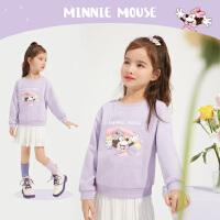 迪士尼女童卫衣2021春装新款儿童宝宝洋气童装针织圆领上衣潮