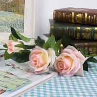 仿真花玫瑰花假花室内装饰花客厅落地插花花束塑料花婚庆花艺摆件 3头玫瑰深粉
