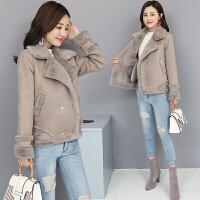 2018冬季韩版加厚加绒皮毛一体长袖毛绒外套女宽松显瘦暖和大毛领外套上衣女冬款