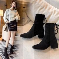 2018韩版新款粗跟短靴女鞋百搭冬季靴子网红鞋子马丁靴瘦瘦靴女靴SN8799 黑色 单内里