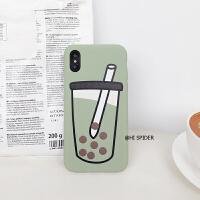 创意珍珠奶茶8plus苹果X手机壳XS Max/XR/iPhone7/6s防摔软套情侣 6/6s 青绿