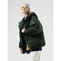 初语灯芯绒羽绒服女冬季新款时尚个性宽松中长款连帽加厚外套
