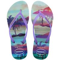 havaianas女款时尚细带人字拖Slim Paisage平底防滑哈瓦那拖鞋紫色0642