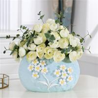 家居装饰北欧ins风陶瓷装饰品摆件 客厅小插花干花瓶创意瓷器摆设 碎花小款花瓶 配茶玫瑰五束