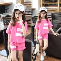 女童夏装套装新款短袖潮衣女孩运动服洋气时髦大童装