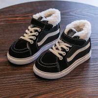 男童运动鞋秋儿童鞋子中大童冬季女童加绒加厚二棉休闲鞋 黑色