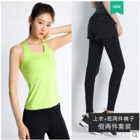 新品瑜伽服健身房跑步运动背心套装女速干两件套性感显瘦