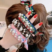 (买一送一,随机送无珍珠款式3件套)糖果公主韩国网红ins仿珍珠彩虹头绳发绳