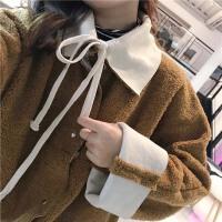 冬装女装学生韩版chic加厚两穿羊羔毛棉衣宽松显瘦长袖外套潮